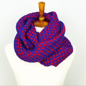 J Crew Red/Blue Honeycomb Cable Infinity Scarf